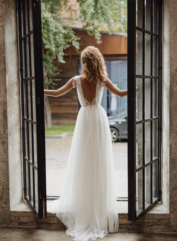 Gwendoline Wedding Dress Boho Chic Wedding Dress Elegant Wedding Dress Open Back Wedding Dress