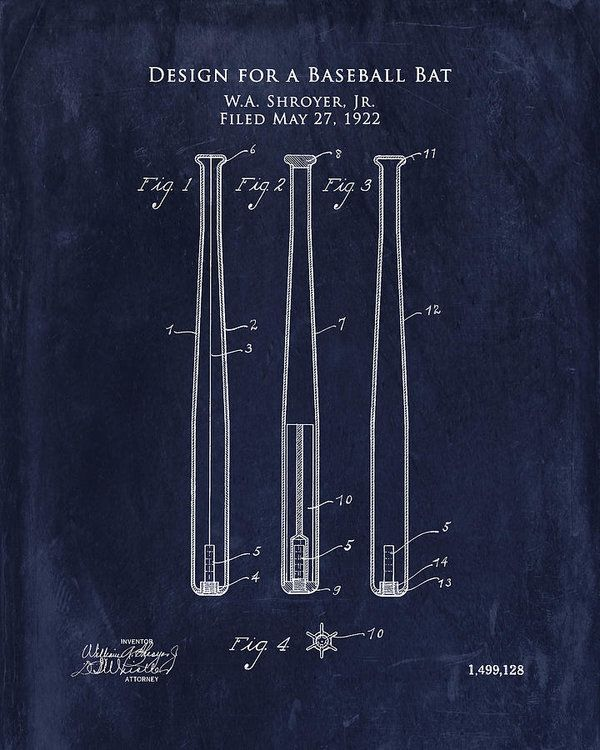 Pictures of baseball bats to print mydrlynx 1922 baseball bat patent art print baseball bat blueprint art art print by sara h malvernweather Image collections