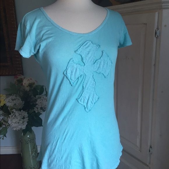 Turquoise Cross tshirt.  Like new Cross tshirt. Longer fitting. Size large but fits like a medium. Boutique Tops Tees - Short Sleeve