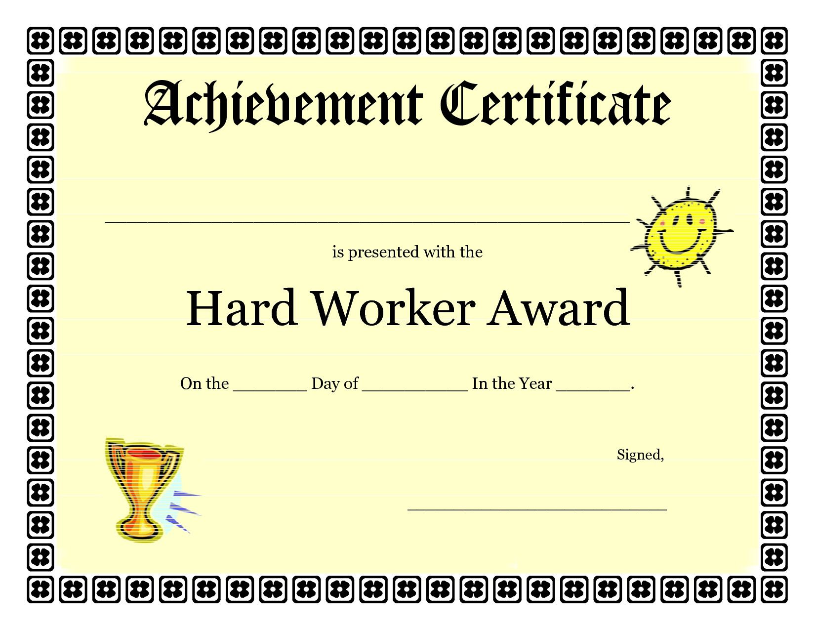 Printable Achievement Certificates Kids Hard Worker Achievement