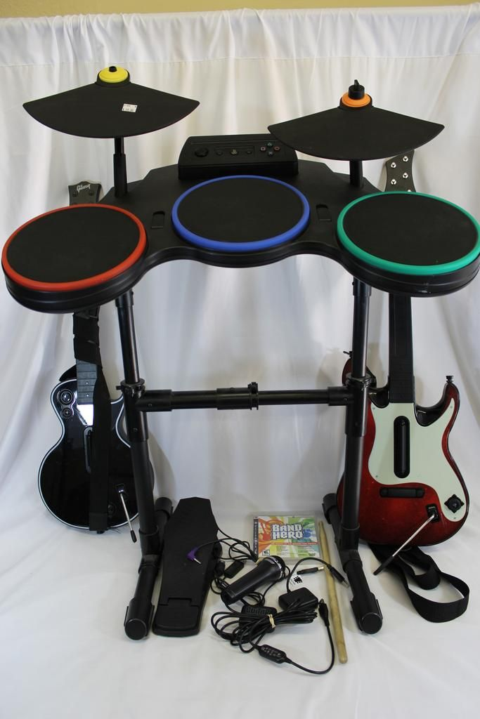 ps3 guitar hero drum set with wireless guitar controllers kick pedal dongles video games. Black Bedroom Furniture Sets. Home Design Ideas