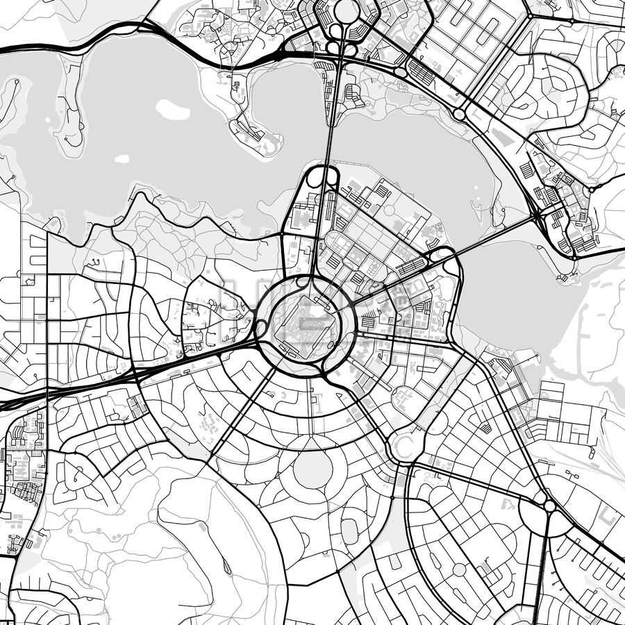 Downtown vector map of Canberra Communication design and Infographic