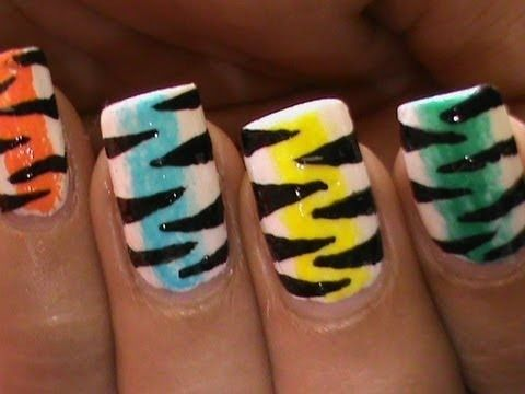 Rainbow Tiger Nail Art Designs Easy Youtube Do It Yourself Nails