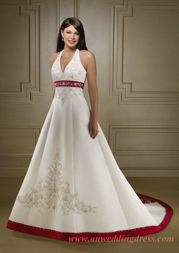 unique v neck halter embroidery red trimed top wedding dress ... 70b39c3ca