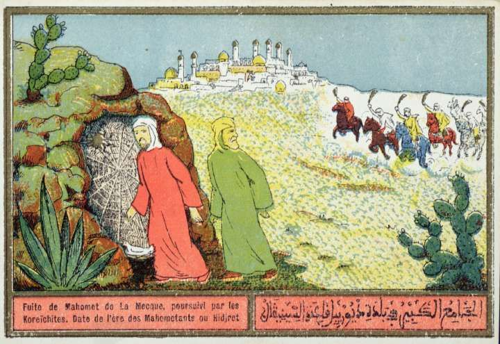Mohammed's Flight from Mecca in 622 AD; Algerian color postcard from the  1920s or '30s. Mohammed is the figure dressed in red entering th… | Image  archive, Postcard
