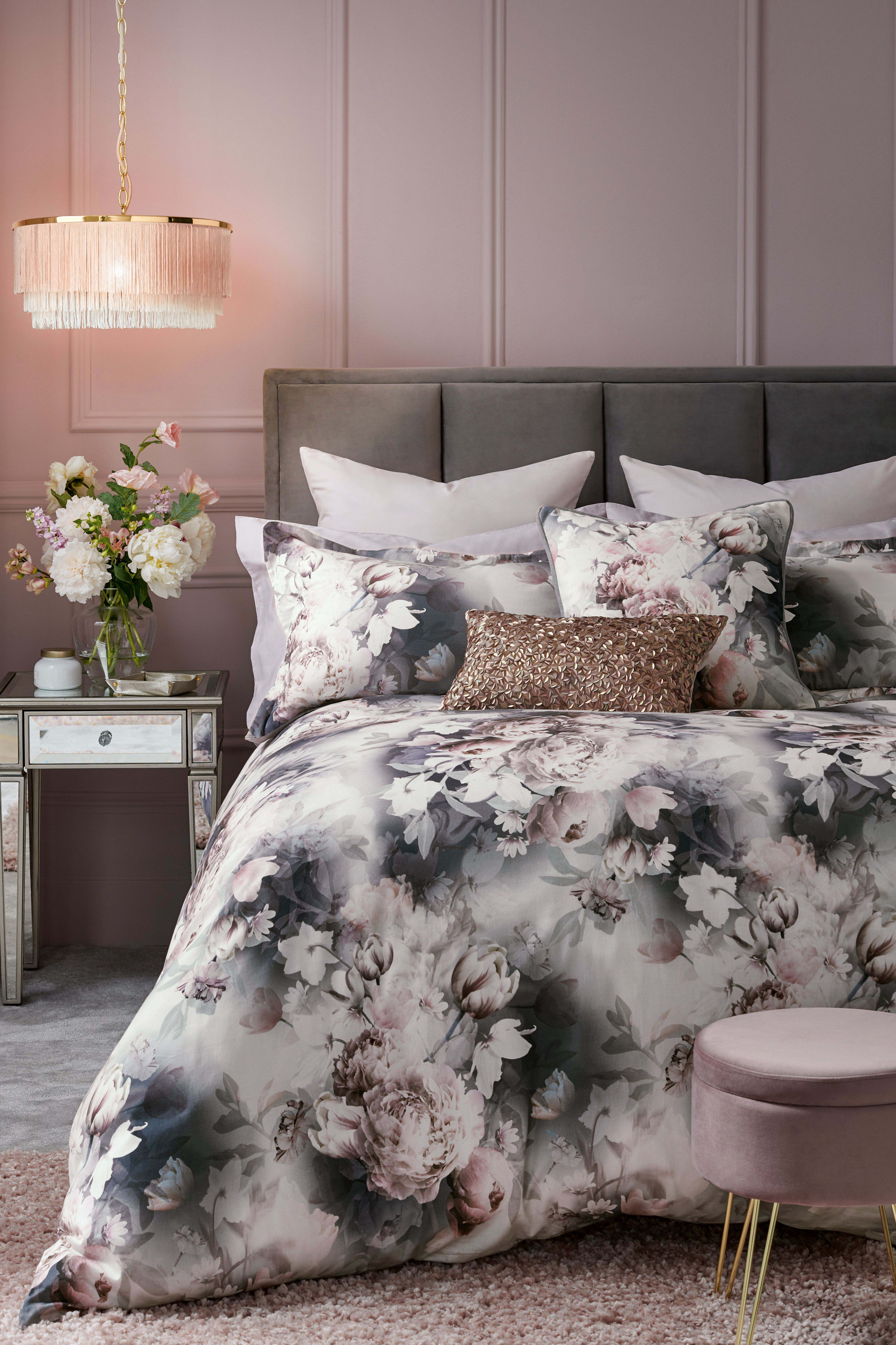 Lipsy Ava Floral Duvet Cover And Pillowcase Set Grey