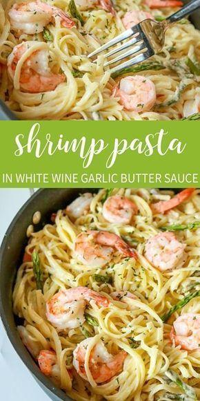 Garlic Butter Shrimp Pasta in White Wine sauce - Shrimp -
