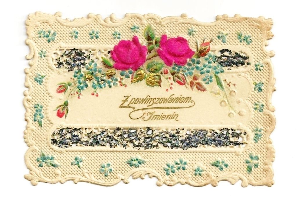C1910 paper lace name day greeting card from poland z c1910 paper lace name day greeting card from poland z powlinszwaniem imienin is archaic polish for happy name day in poland m4hsunfo