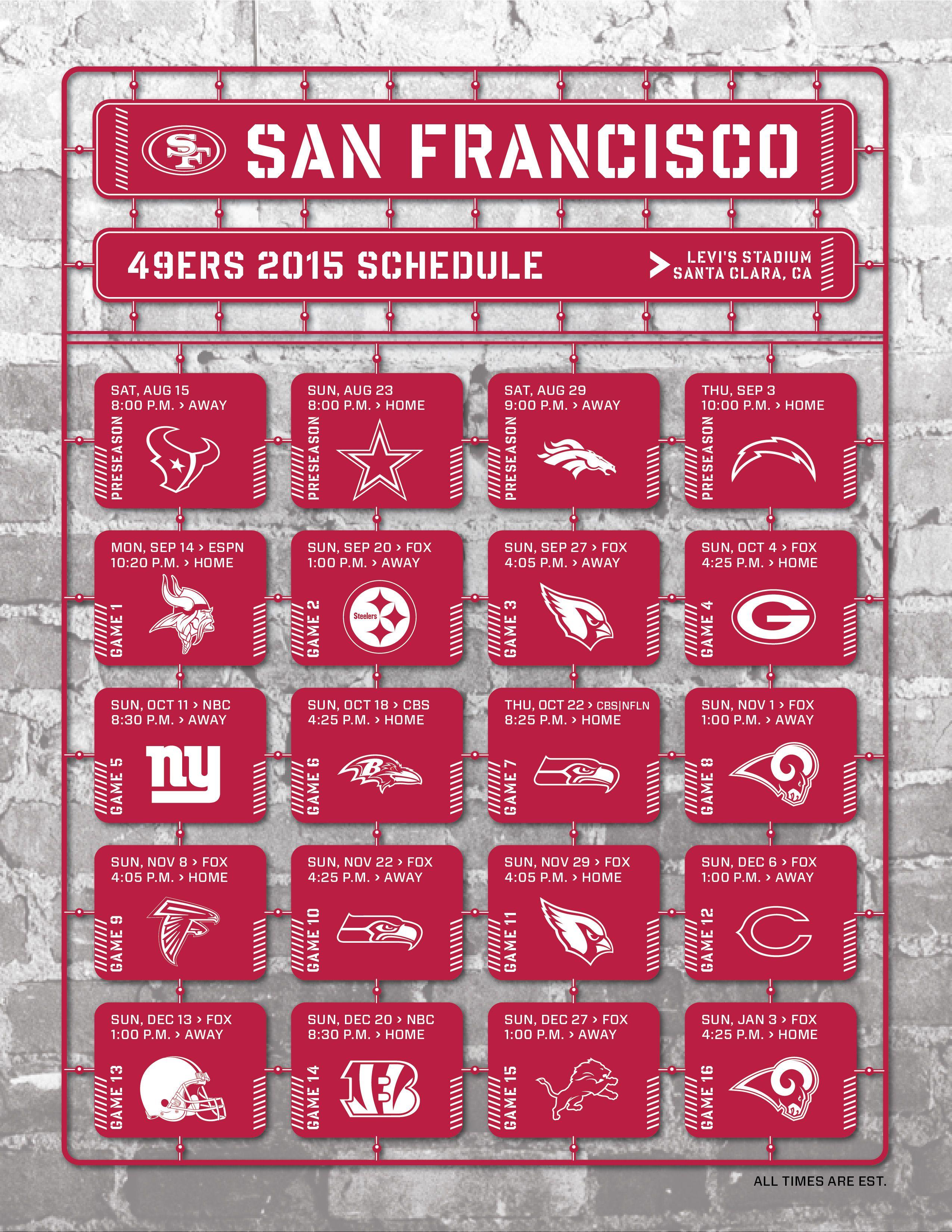 San Francisco 49ers 2015 Schedule Atlanta Falcons Schedule Atlanta Falcons San Francisco 49ers