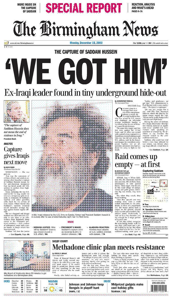 Capture Of Sadam Hussein How To Memorize Things History Newspaper Headlines