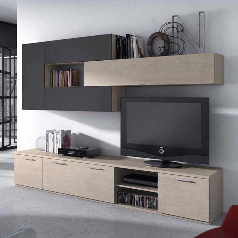 Composition de meubles tv muraux design candice atylia for Meuble tele suspendu