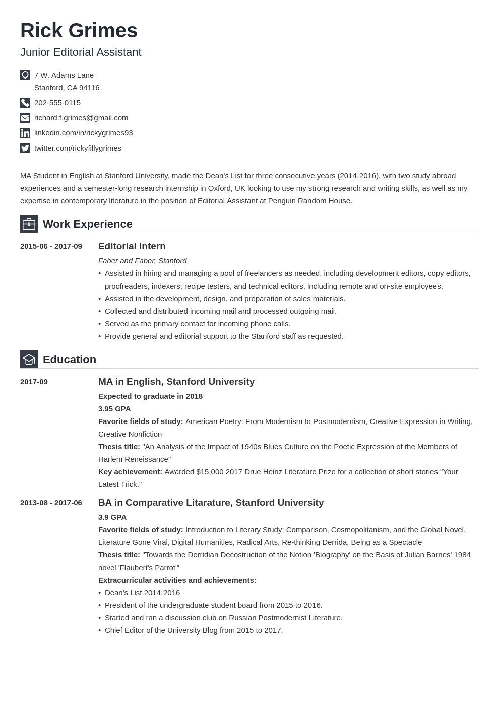 entry level resume example template iconic  Resume examples