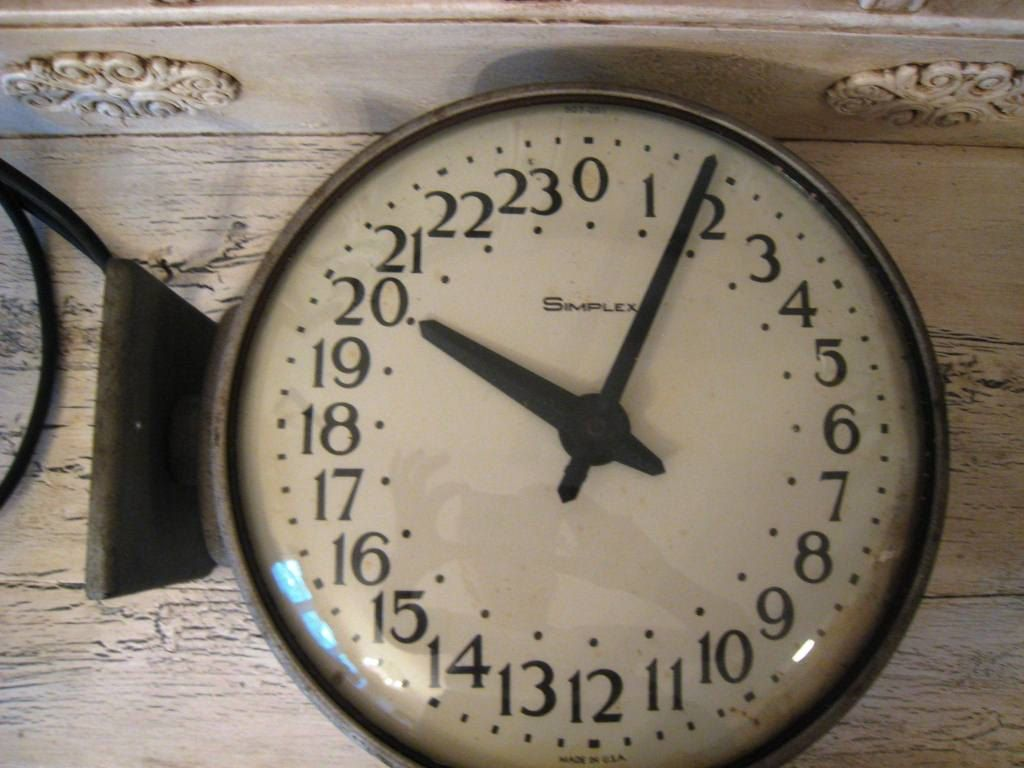 Large Vintage Industrial 24 Hour Military Clock 65 00