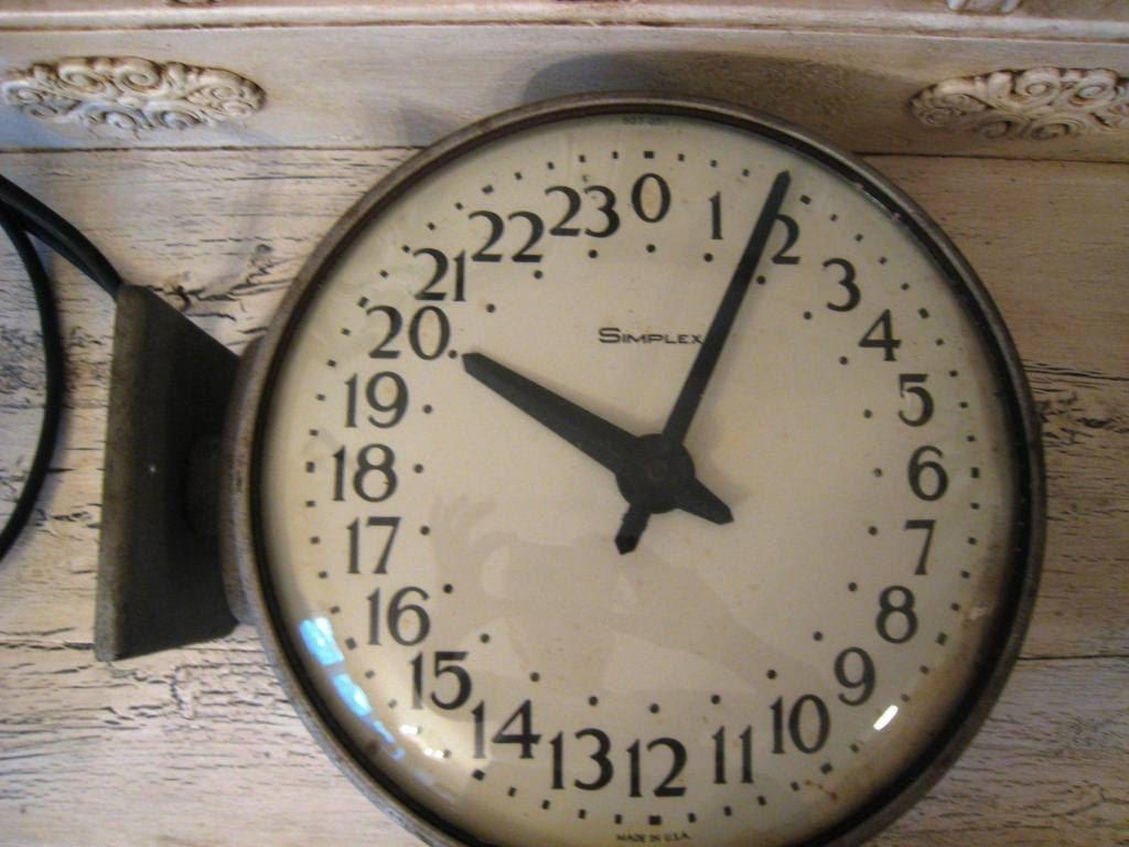 Large Vintage Industrial 24 Hour Military Clock Tick