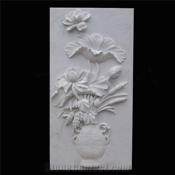White Marble Wall Relief Carving Lotus China Refine Industry Co Ltd Plaster Wall Art Clay Art Projects Wall Sculptures
