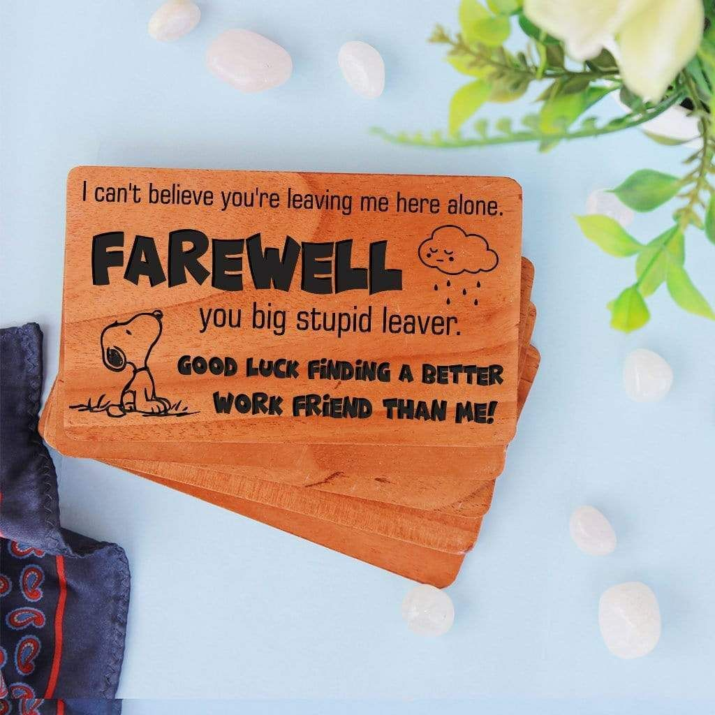 Farewell Card Set Of Personalized Wooden Cards In 2021 Farewell Cards Wooden Cards Cards For Friends