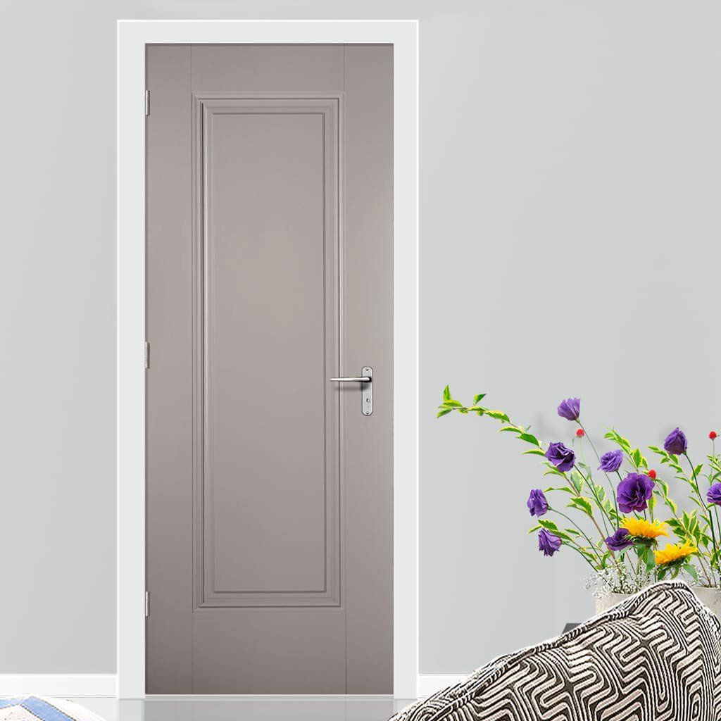 Eindhoven 1 Panel Grey Primed Internal Door Is 1 2 Hour Fire Rated Lifestyle Image Door Grey Internal Doors Wood Doors Interior Internal Doors