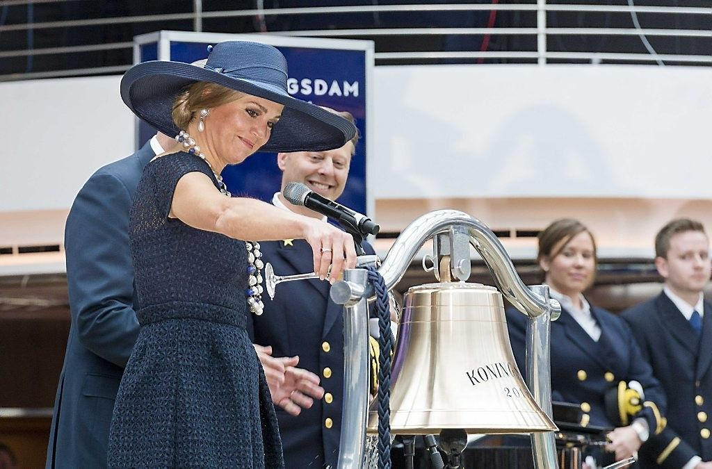 Queen Máxima of the Netherlands baptized the cruise ship MS Koningsdam of the Holland America Line in the harbour of Rotterdam
