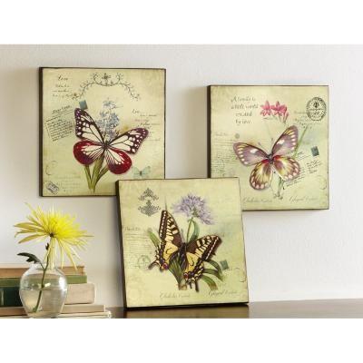 SET OF 3 Inspirational Botanical Butterfly Wall Art Plaques ...