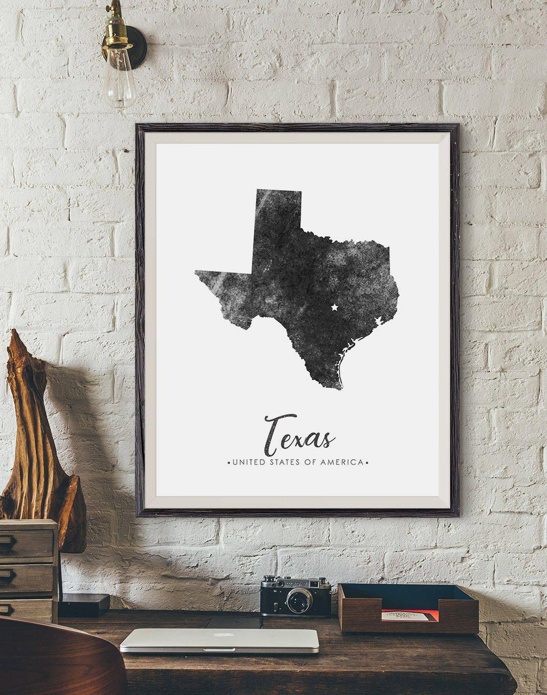 Texas State Map Digital Print State Map Art Texas Map Art Etsy Texas Map Art State Map Art Digital Art Prints