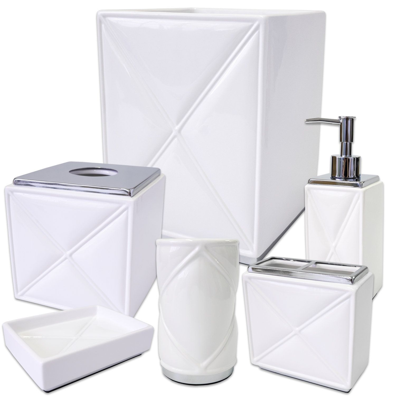 Quilt 6 Piece Bath Accessory Set or Separates - /Chrome | Bathroom ...
