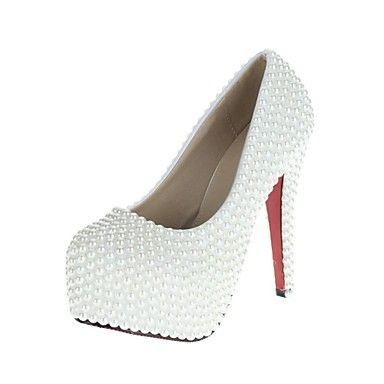 Women's Shoes VELCANS Platform Stiletto Heel Pearl Pumps Wedding Shoes – USD $ 69.99
