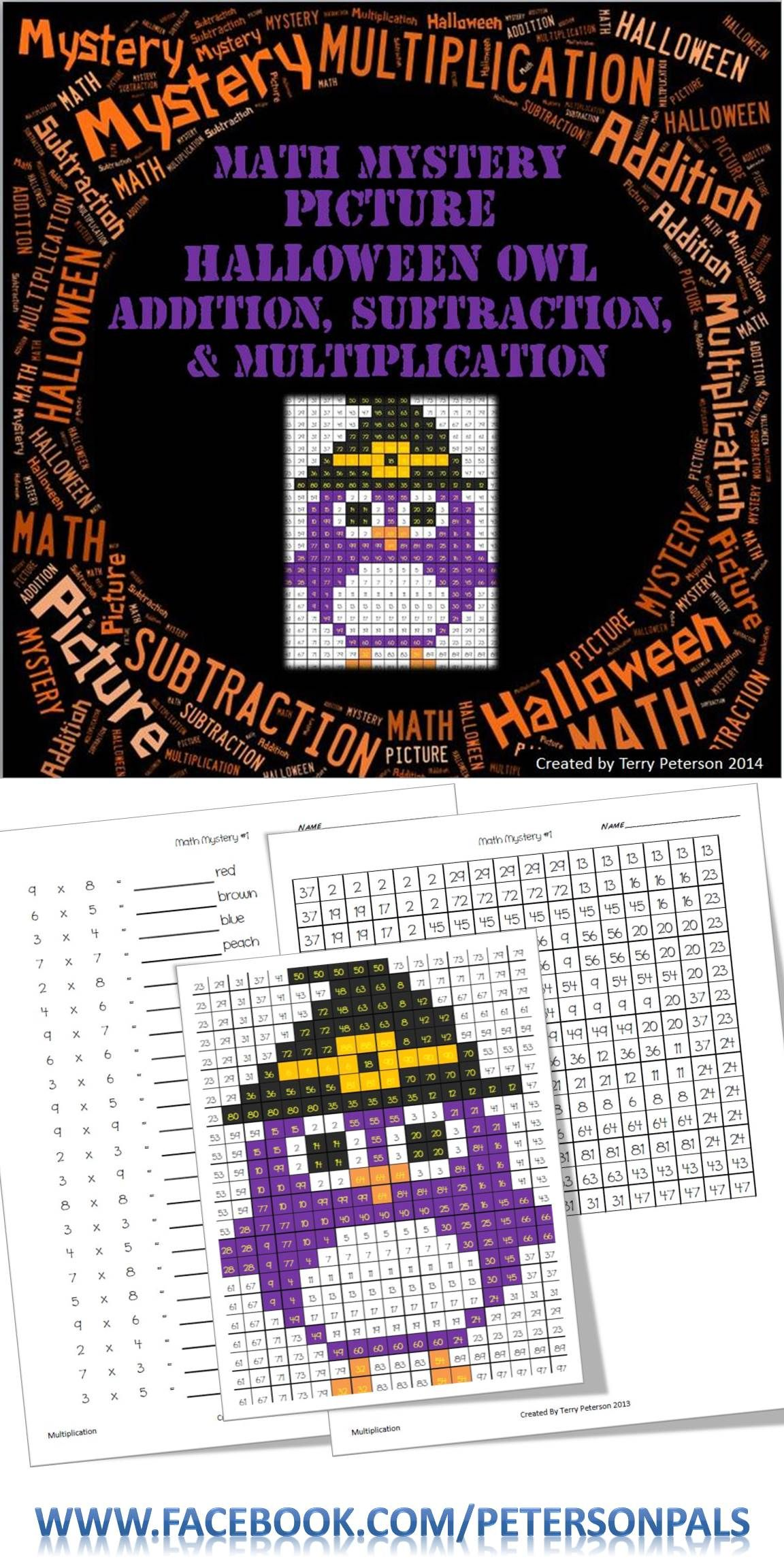 Math Mystery Picture Halloween Owl Addition Subtraction