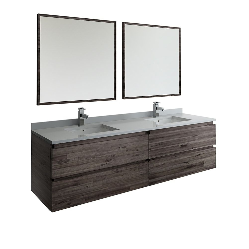 Fresca Formosa 72 Wall Hung Double Sink Modern Bathroom Vanity W
