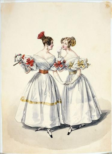Sort of like Clarissa's opera dress, with its draped bodice. Evening dress, 1832 France, Journal des Dames et des Modes