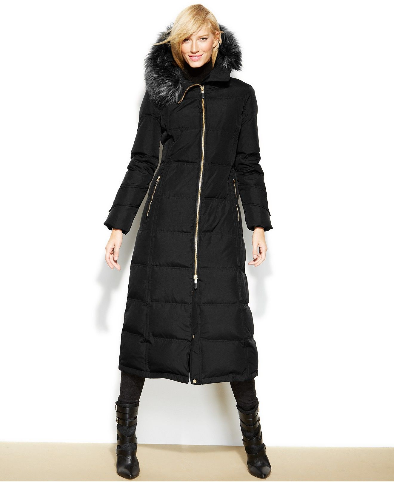 Calvin Klein Hooded Faux Fur Trim Down Puffer Maxi Coat Coats Women Macys