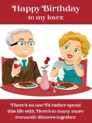 Romantic Cartoon Dinner Happy Birthday Card For Husband Birthday Greeting Cards By Davia Husband Birthday Card Birthday Cards Happy Birthday Husband Cards
