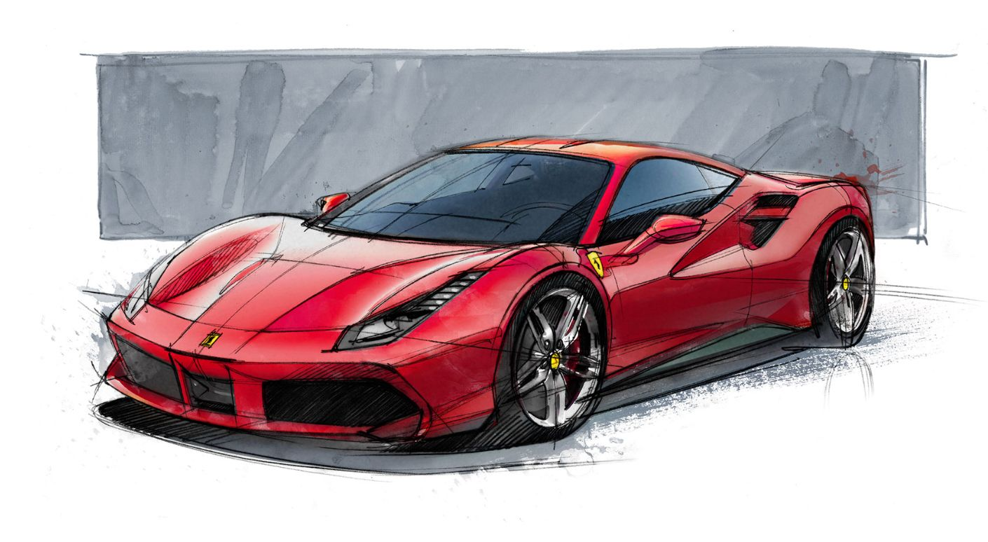 Ferrari 488 Gtb Sketch Car Drawings Concept Car Design Ferrari 488
