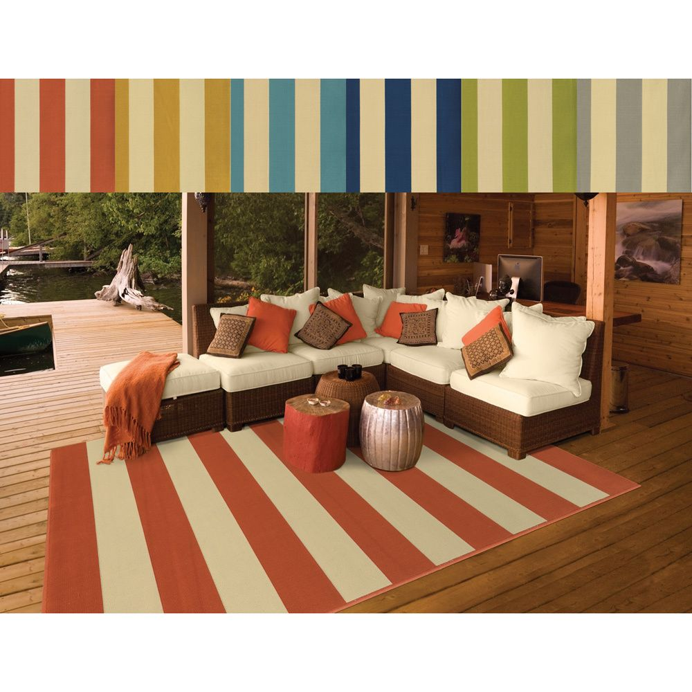 This bold stripe pattern area rug will help your outdoor