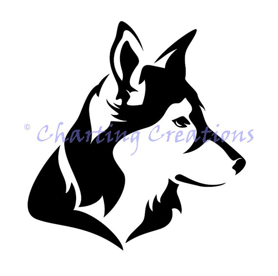 Husky Silhouette Counted Cross Stitch Pattern by ChartingCreations
