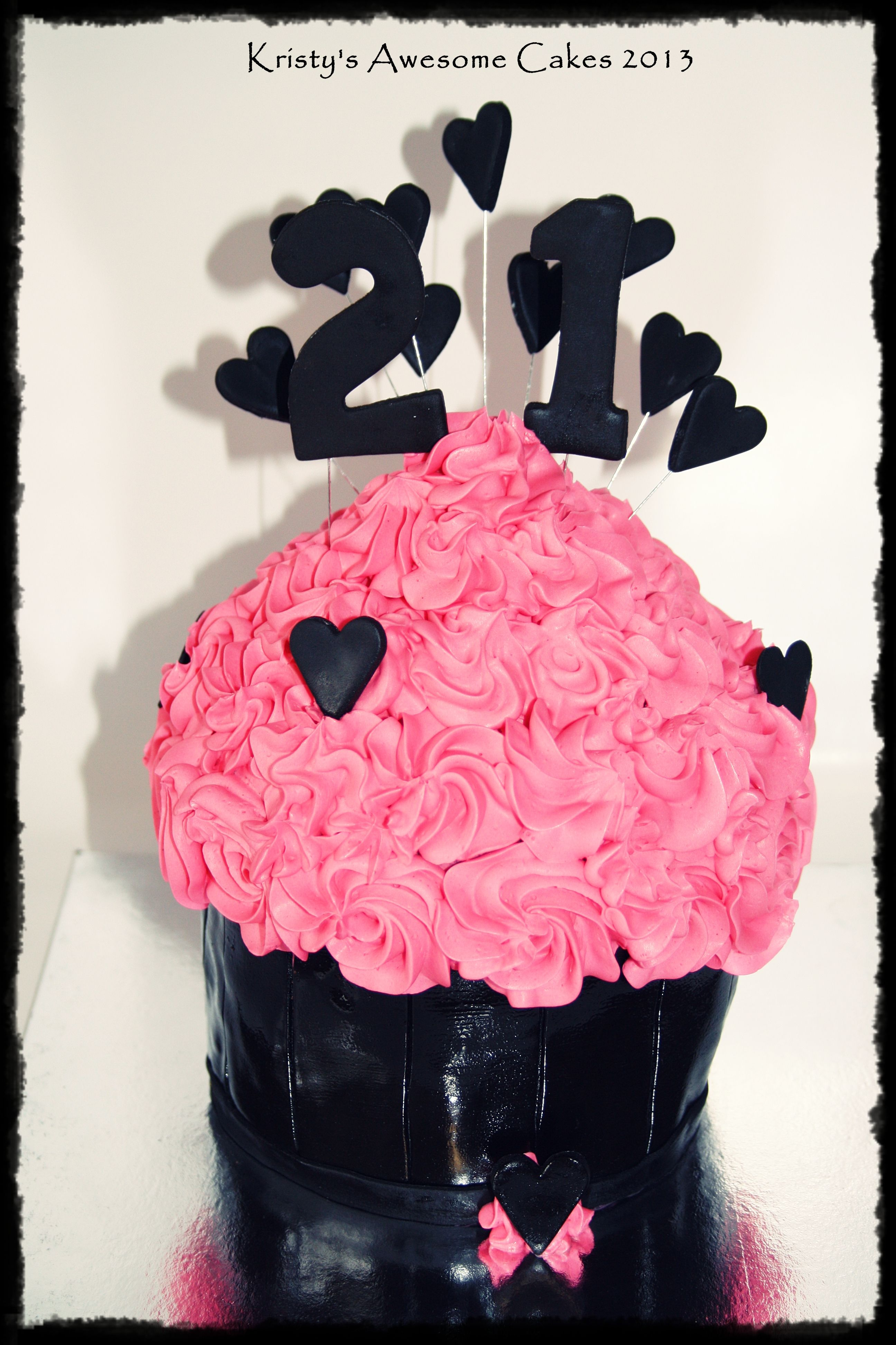 large cupcake cake  pink and black  21st  hearts