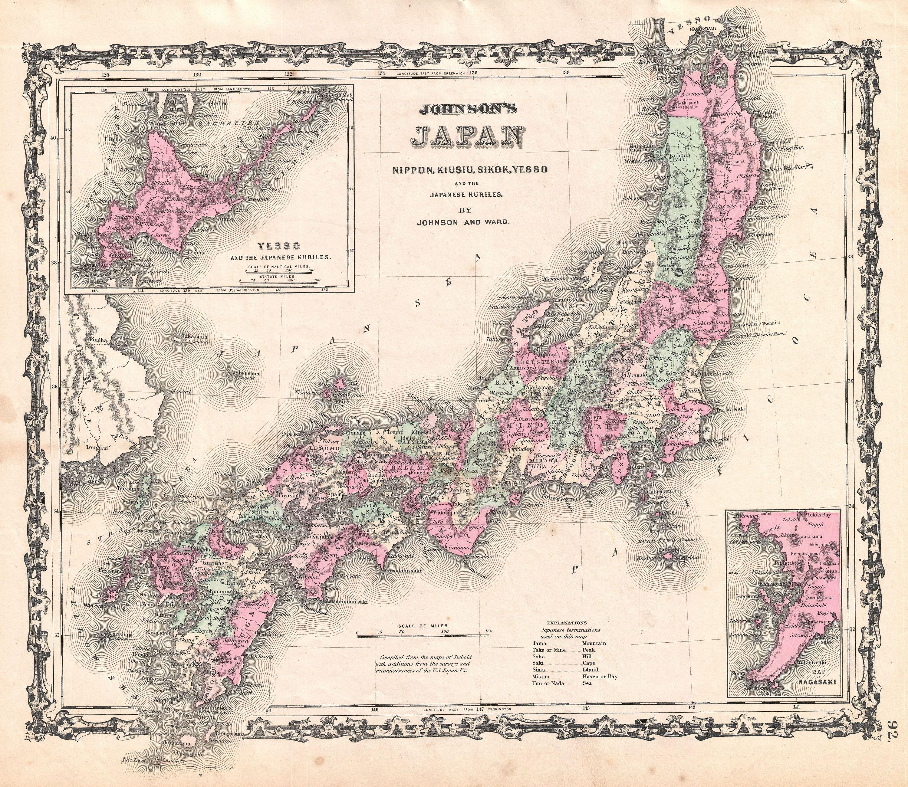 1862 Johnson Map of Japan Old Maps