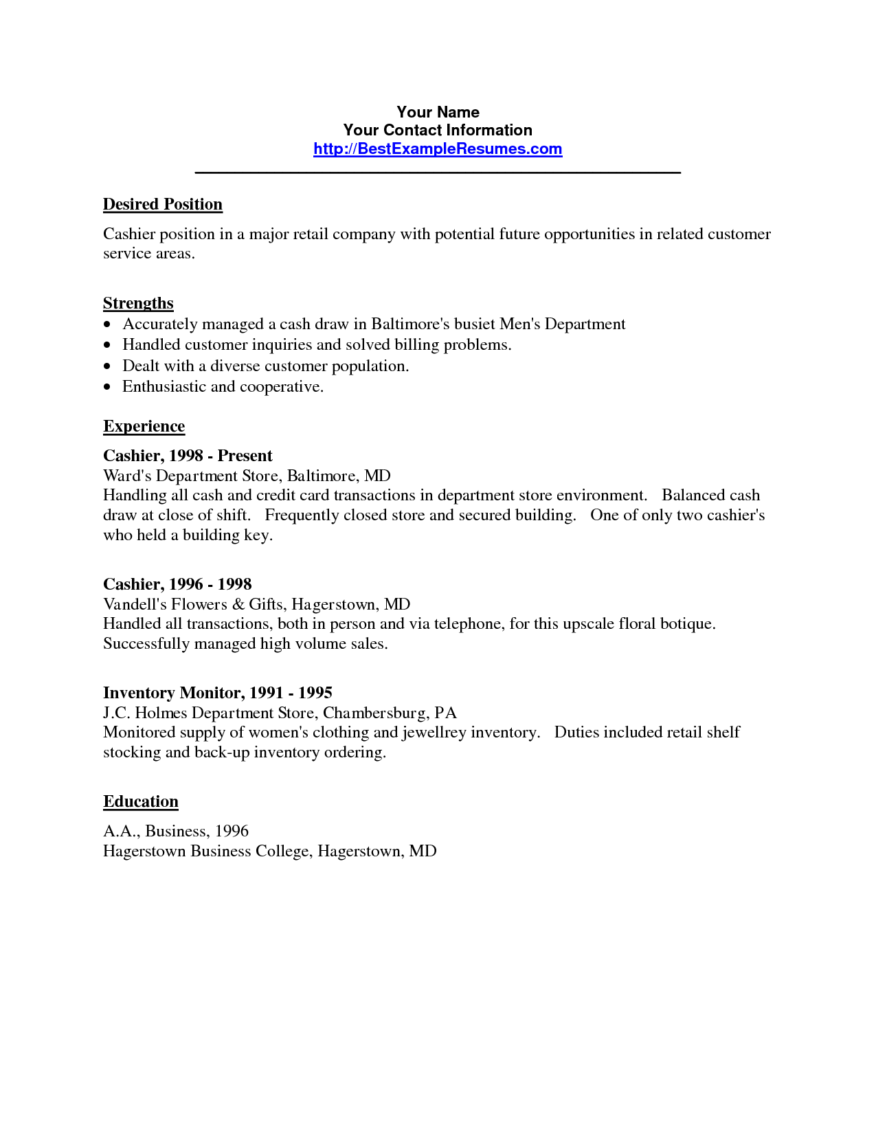 Example Of A Simple Resume Job Resume Sample Cashier Examples For Application Impressive