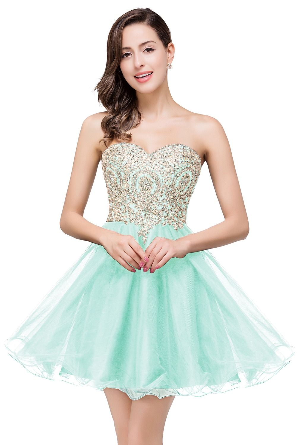 Online Shop Real Model Picture Sweetheart Ball Gown Backless Mini Short  Tulle Appliques Lace Homecoming Dresses 2016 Vestido De Festa Curto  e4ae2bb643ba