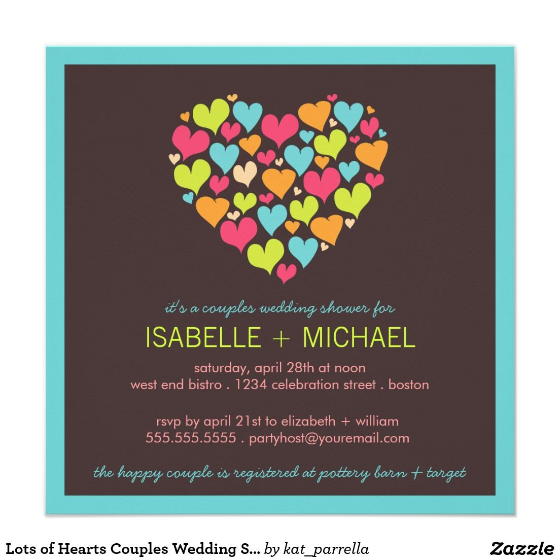Lots Of Hearts Couples Wedding Shower Invitation Wedding