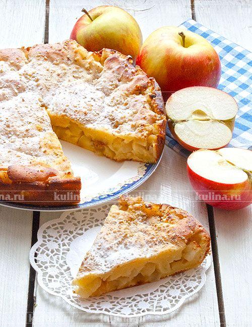 Творожный пирог с яблоками - рецепт с фото | Пирог ...