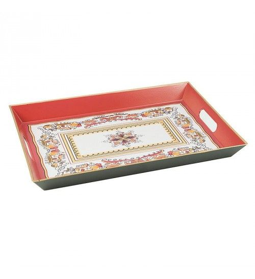 Decorative Plastic Serving Trays Plastic Tray In Indian Red Design 45Χ30Χ4  Traysplacements