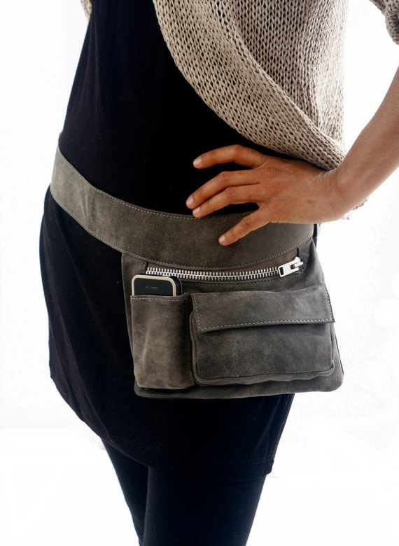 This Gray Leather Hip Bag Was Handmade By Me Using The Finest Italian It Features Three Sections A Main Zipped Pocket Front Pouch And