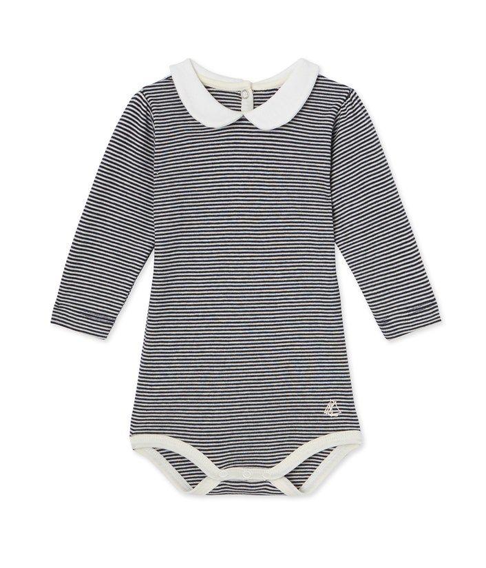Body bébé fille en milleraies bleu Smoking   beige Coquille - Petit Bateau c99f1f878a8