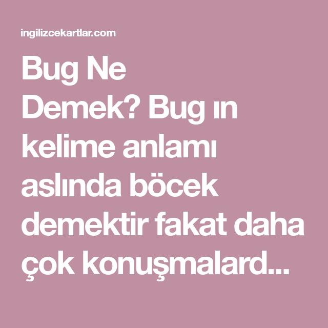 Bug Ne Demek? Bug ın kelime anlamı aslında böcek demektir fakat daha çok  konuşmalarda bir hatadan bahsedilirken bug kelimesi kullanılır. Tabi…    Eğitim, Blog, Böcek