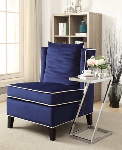 The Ozella Blue Armless Chair Will Be A Great Addition To Any Living Space.  Featuring