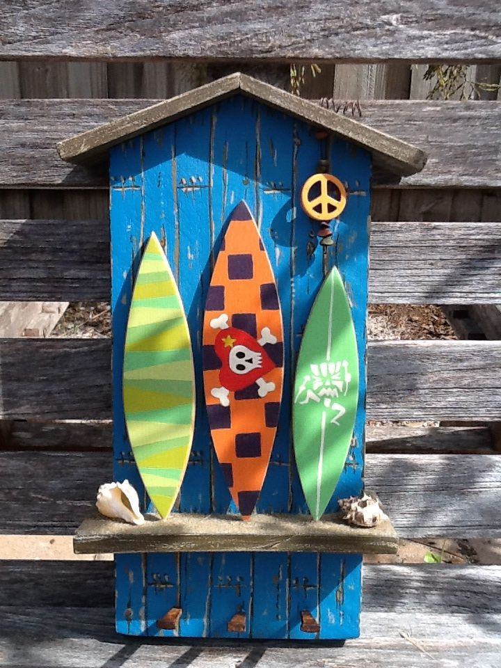 Beach shack with surf boards key holder