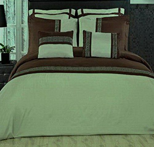Amazon Com 7pc Modern Brown Green Lightweight Bedding Duvet Cover X2f Euro Shams Set King X2f Cal King Size Home Kitch Bed Duvet Covers Bed Cal King Size
