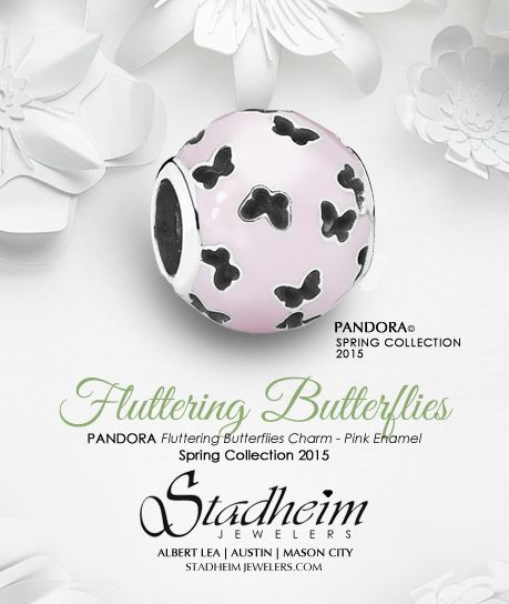 PANDORA Fluttering Butterflies Charm - Pink Enamel - Spring Collection 2015