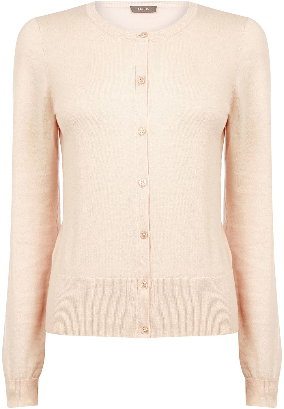 Womens light peach crew cardi from Oasis - £25 at ClothingByColour ...