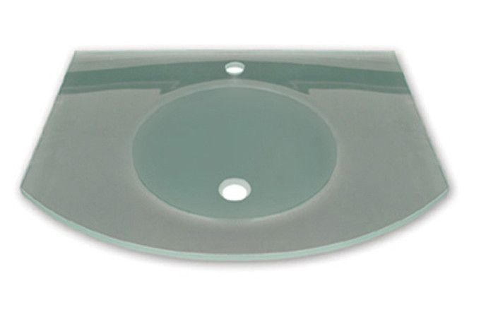 """New Generation arched 1/2"""" matte glass counter top with integrated round basin - polished stainless steel angular wall mount supports included"""
